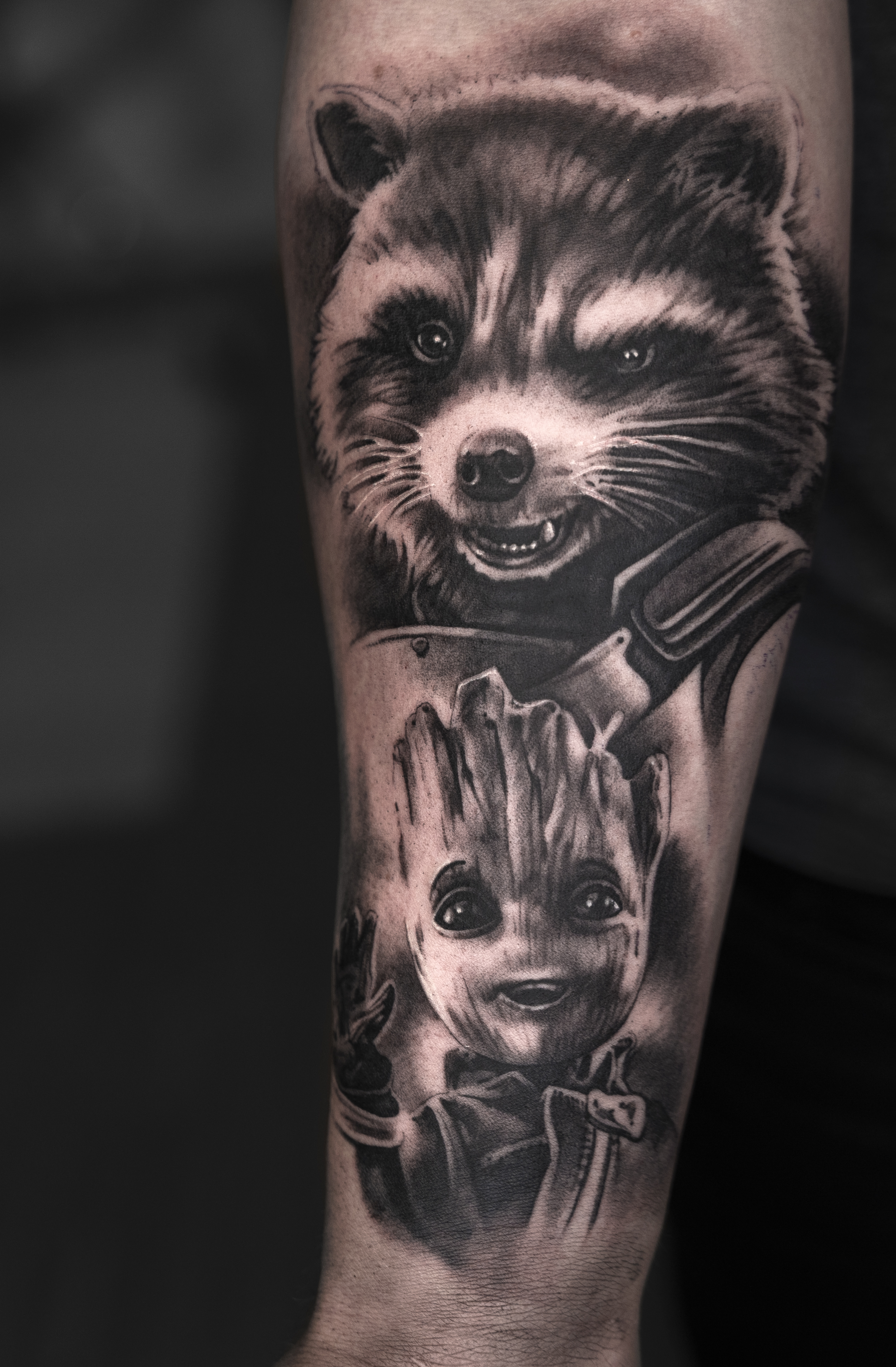 guardians of the galaxy tattoo of rocket and groot