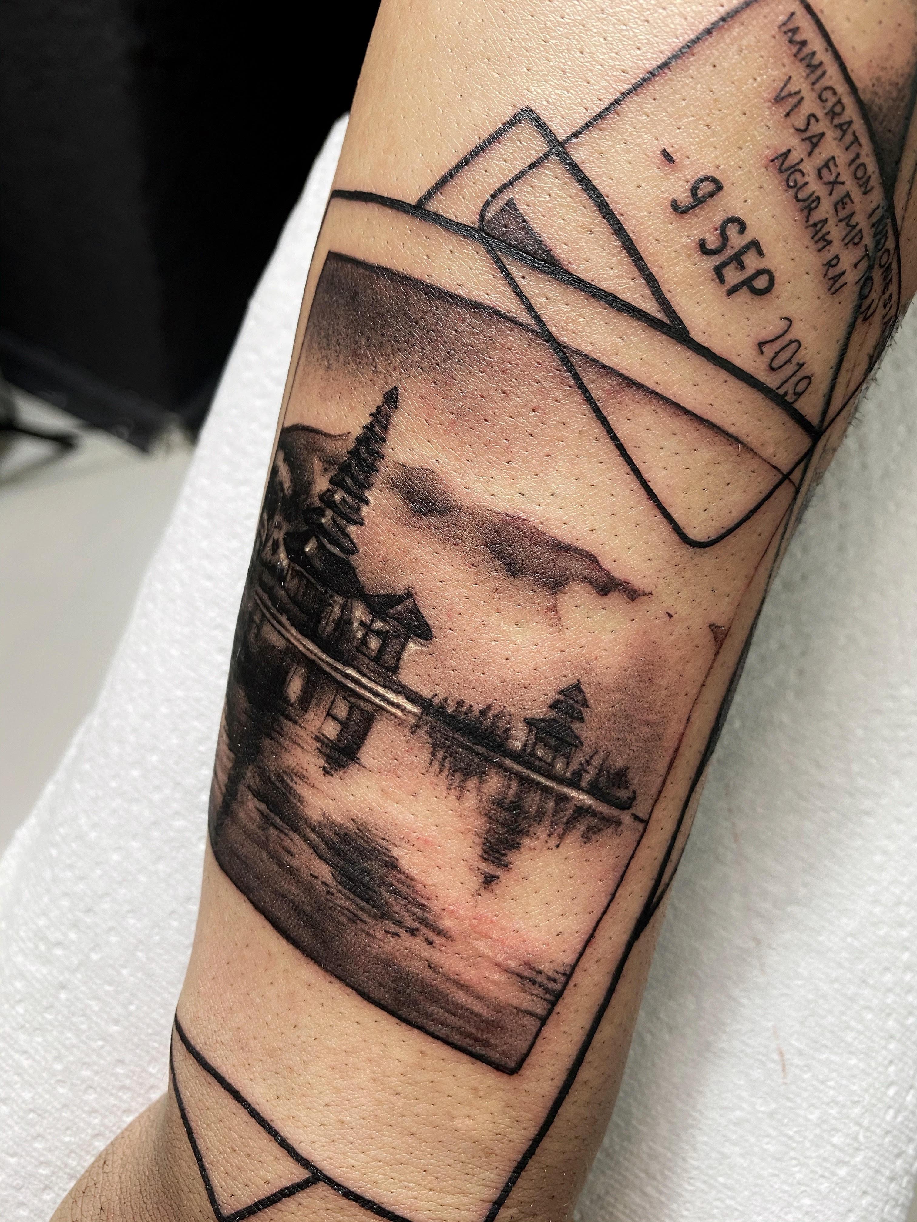 polaroid tattoo of a landscape